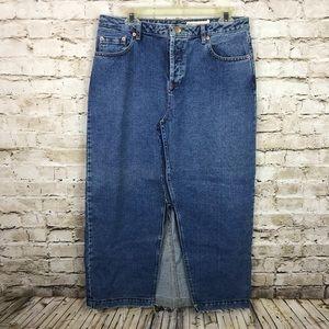asos Denim Jean Deconstructed Maxi Skirt Distress
